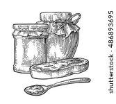 jar  spoon and slice of bread... | Shutterstock .eps vector #486893695
