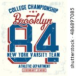 college new york typography  t... | Shutterstock .eps vector #486897085