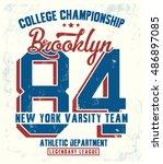 college new york typography  t... | Shutterstock .eps vector #486897085