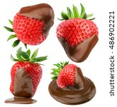 collection of strawberries in... | Shutterstock . vector #486902221