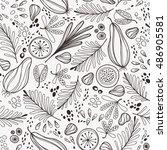 vector hand drawn seamless... | Shutterstock .eps vector #486905581