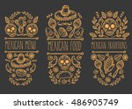 mexican food sketch doodle... | Shutterstock .eps vector #486905749