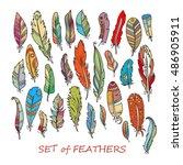 vector ornate set of stylized... | Shutterstock .eps vector #486905911