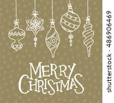 christmas greeting card with... | Shutterstock .eps vector #486906469