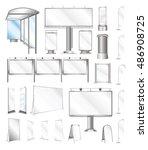 set vector outdoor billboard... | Shutterstock .eps vector #486908725