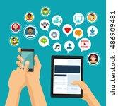 social media and network ... | Shutterstock .eps vector #486909481