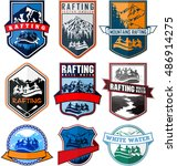set of vector rafting emblems... | Shutterstock .eps vector #486914275
