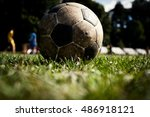 old and used soccer ball | Shutterstock . vector #486918121
