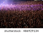 blurred crowd of people... | Shutterstock . vector #486929134