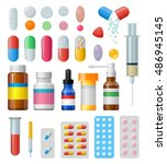 set of  pills and capsules.... | Shutterstock . vector #486945145