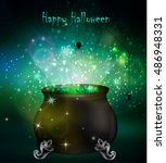 halloween witches cauldron | Shutterstock .eps vector #486948331
