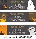 happy halloween banner. set of... | Shutterstock .eps vector #486951085