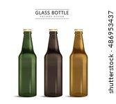 glass bottle package design  3d ... | Shutterstock .eps vector #486953437