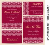 set of wedding cards with... | Shutterstock .eps vector #486968254