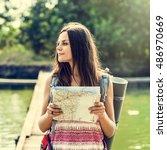 map destination direction route ... | Shutterstock . vector #486970669