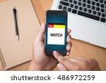 live broadcast media news... | Shutterstock . vector #486972259