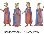 medieval manuscript king and... | Shutterstock .eps vector #486974947