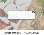 copy space label logo blank... | Shutterstock . vector #486981931