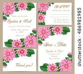 set of wedding cards with... | Shutterstock .eps vector #486981985