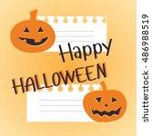 halloween orange pumpkin with a ...   Shutterstock .eps vector #486988519
