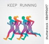 run  running poster | Shutterstock .eps vector #486990697