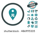 yuan map marker pictograph with ... | Shutterstock .eps vector #486995335