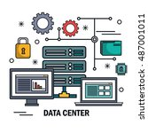 data center server technology... | Shutterstock .eps vector #487001011