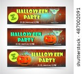 halloween banner set | Shutterstock .eps vector #487002091