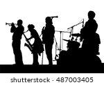concert of jazz music on white... | Shutterstock .eps vector #487003405