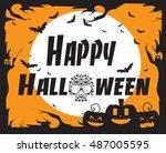 halloween background vector...   Shutterstock .eps vector #487005595