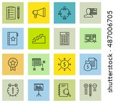 set of project management icons ... | Shutterstock .eps vector #487006705