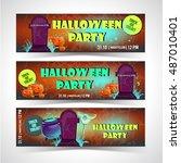 halloween banner set | Shutterstock .eps vector #487010401