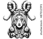woman with long horns demon | Shutterstock .eps vector #487012591