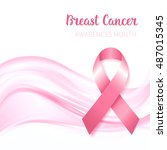 breast cancer awareness ribbon  ... | Shutterstock .eps vector #487015345