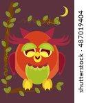 illustration of owl on dark... | Shutterstock .eps vector #487019404