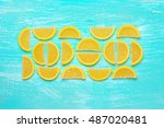 lemon segment shaped candied... | Shutterstock . vector #487020481