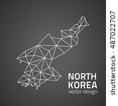 north korea black contour... | Shutterstock .eps vector #487022707
