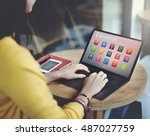education application knowledge ... | Shutterstock . vector #487027759