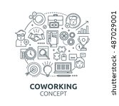 coworking round composition... | Shutterstock .eps vector #487029001