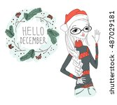 hello december girl  colorful... | Shutterstock .eps vector #487029181