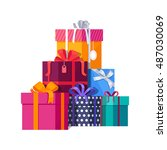 big pile of colorful wrapped... | Shutterstock .eps vector #487030069