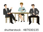 two young men and woman talking ... | Shutterstock . vector #487030135