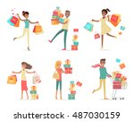 set of shopping people vector...