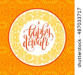 happy diwali greeting card with ... | Shutterstock .eps vector #487033717
