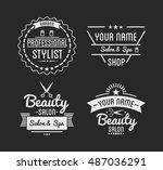 set of vintage barber shop logo ... | Shutterstock .eps vector #487036291
