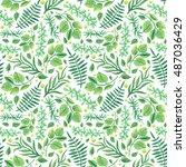 watercolor green leaves  ferns...   Shutterstock . vector #487036429
