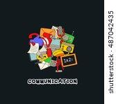 doodle communication background ... | Shutterstock .eps vector #487042435