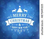 merry christmas vintage line... | Shutterstock .eps vector #487049335