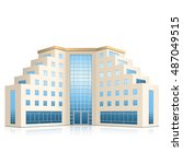 office building with entrance...   Shutterstock .eps vector #487049515