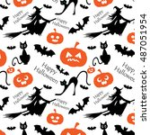 seamless pattern for halloween... | Shutterstock .eps vector #487051954